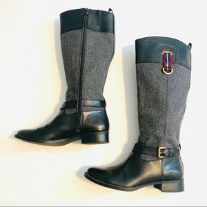 Tommy Hilfiger Black Gray Riding Boots Sz 9 Buckle